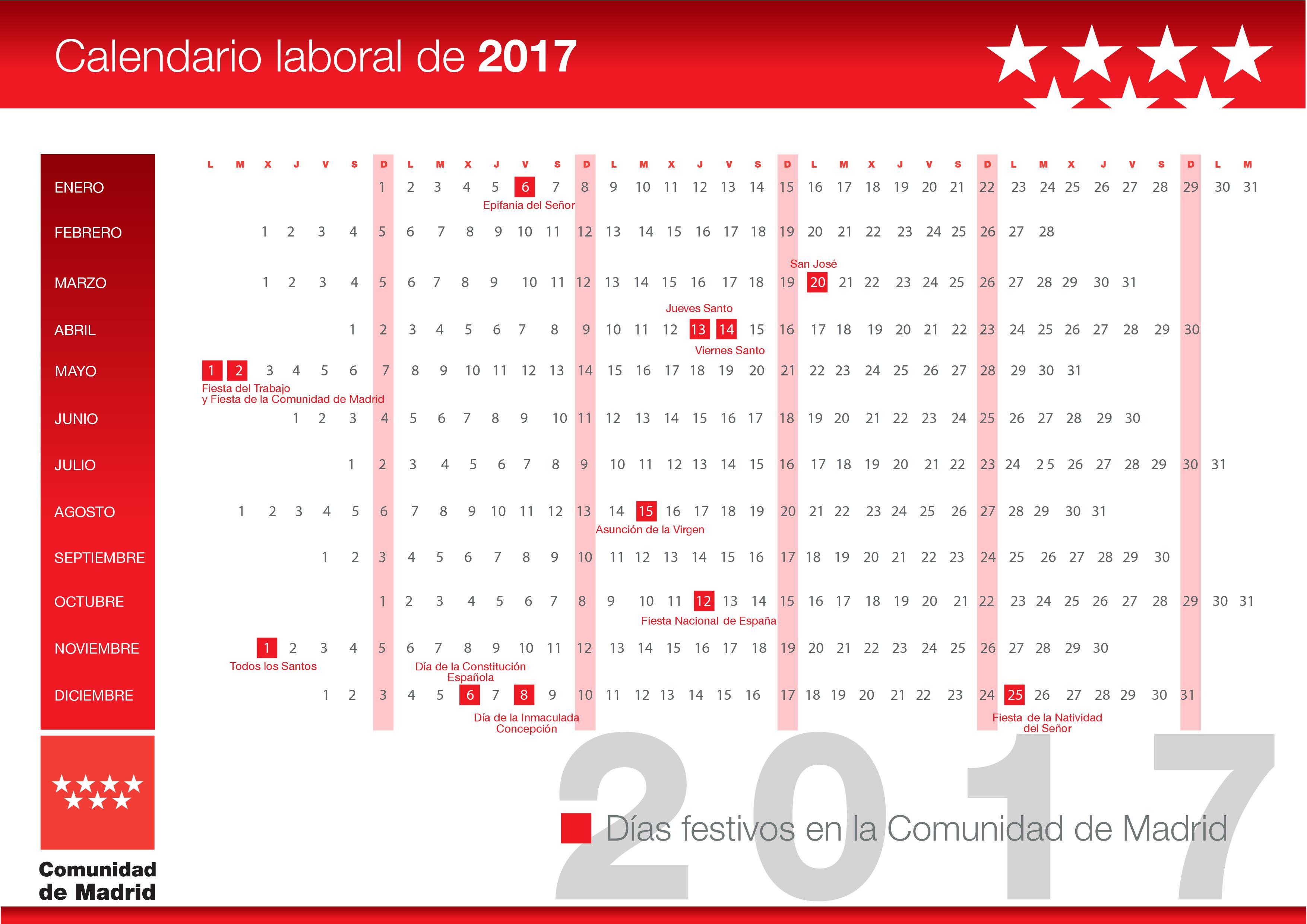 Calendario Del Madrid.Calendario Laboral Comunidad De Madrid 2017 Area Laboral
