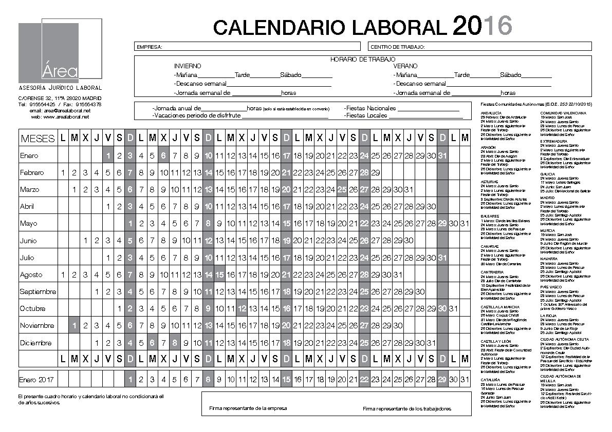 CALENDARIO LABORAL AREA LABORAL 2016
